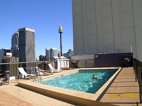 Rooftop pool at George's sydney vacation apartments